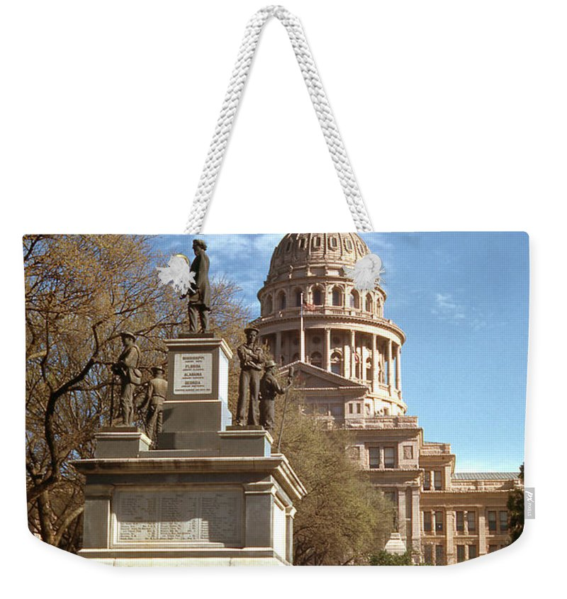 Vintage Weekender Tote Bag featuring the photograph Vintage View Of The Monument To The Confederate Soldiers At The by Herronstock Prints