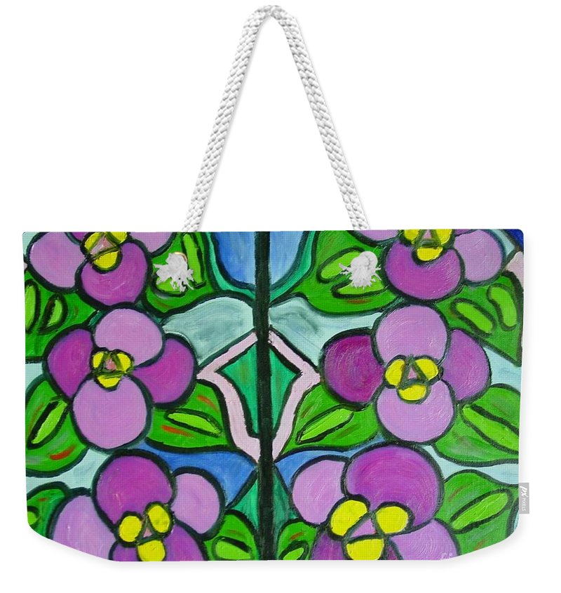 Violets Weekender Tote Bag featuring the painting Vintage Violets by Laurie Morgan