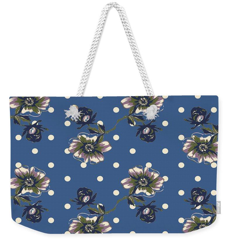 Flower Weekender Tote Bag featuring the digital art Vintage Wallpaper Seamless Rose Flower Pattern On Circles Polka by Svetlana Corghencea