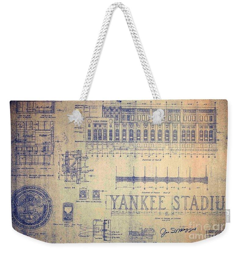 Joe Dimaggio Weekender Tote Bag featuring the drawing Vintage Yankee Stadium Blueprint by Peter Ogden Gallery