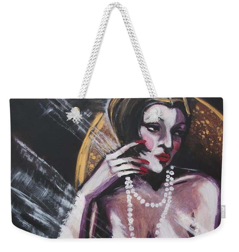 Original Weekender Tote Bag featuring the painting Vintage Years - White Pearls by Carmen Tyrrell