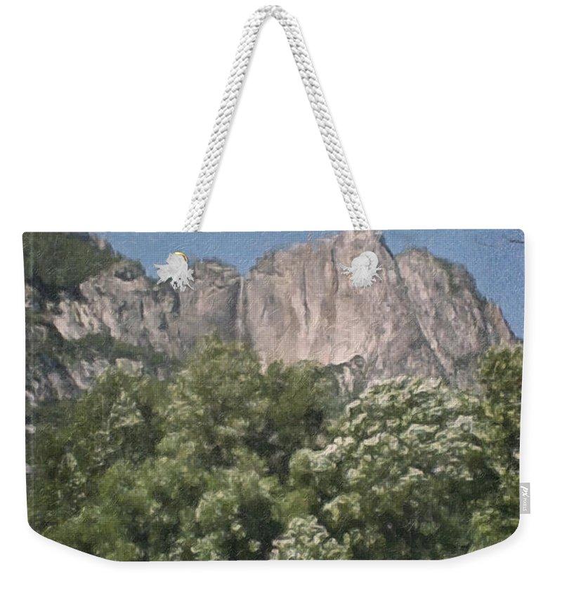 Landscape Weekender Tote Bag featuring the painting Vintage Yosemite by Teresa Mucha