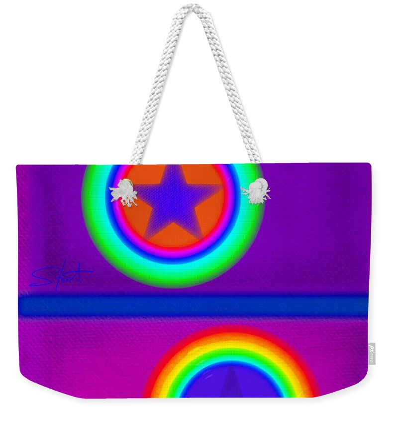 Balance Weekender Tote Bag featuring the painting Violet Circus by Charles Stuart