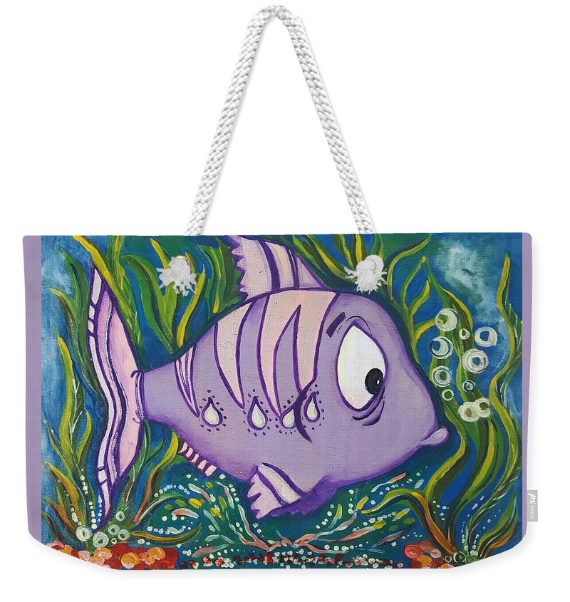 Fish Weekender Tote Bag featuring the painting Violet Fish by Rita Fetisov
