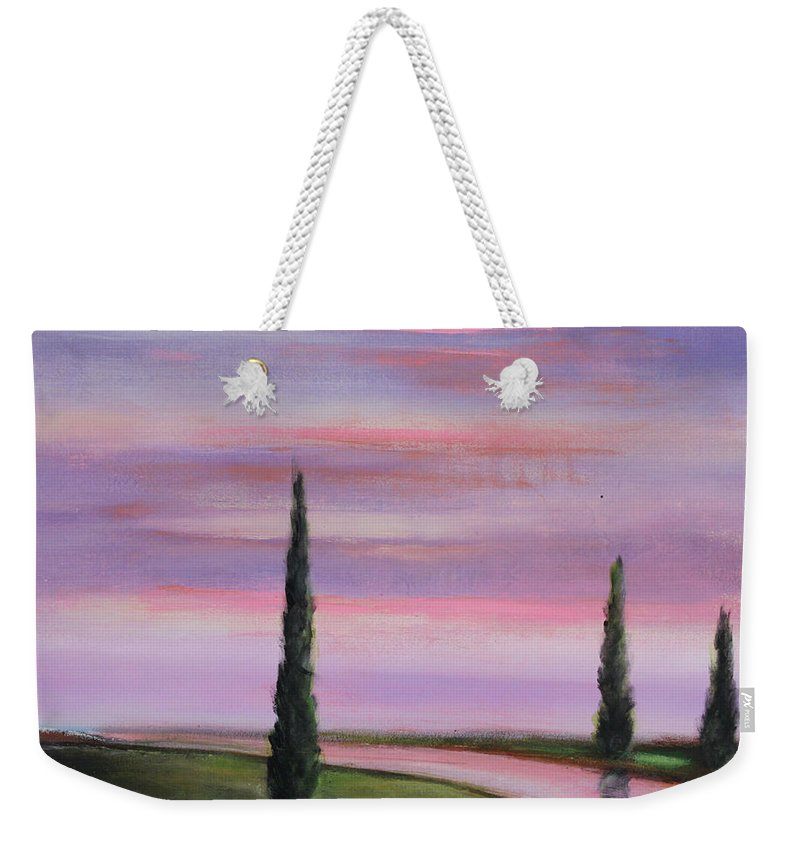 Purple Weekender Tote Bag featuring the painting Violet Sky by Toni Grote