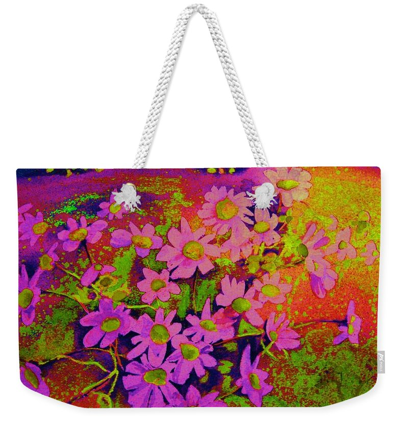 Violets Weekender Tote Bag featuring the painting Violets Among The Heather by Carole Spandau