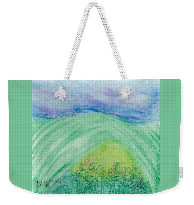 Soft Pastels Weekender Tote Bag featuring the pastel Violets In The Summertime by Doriel Mackay