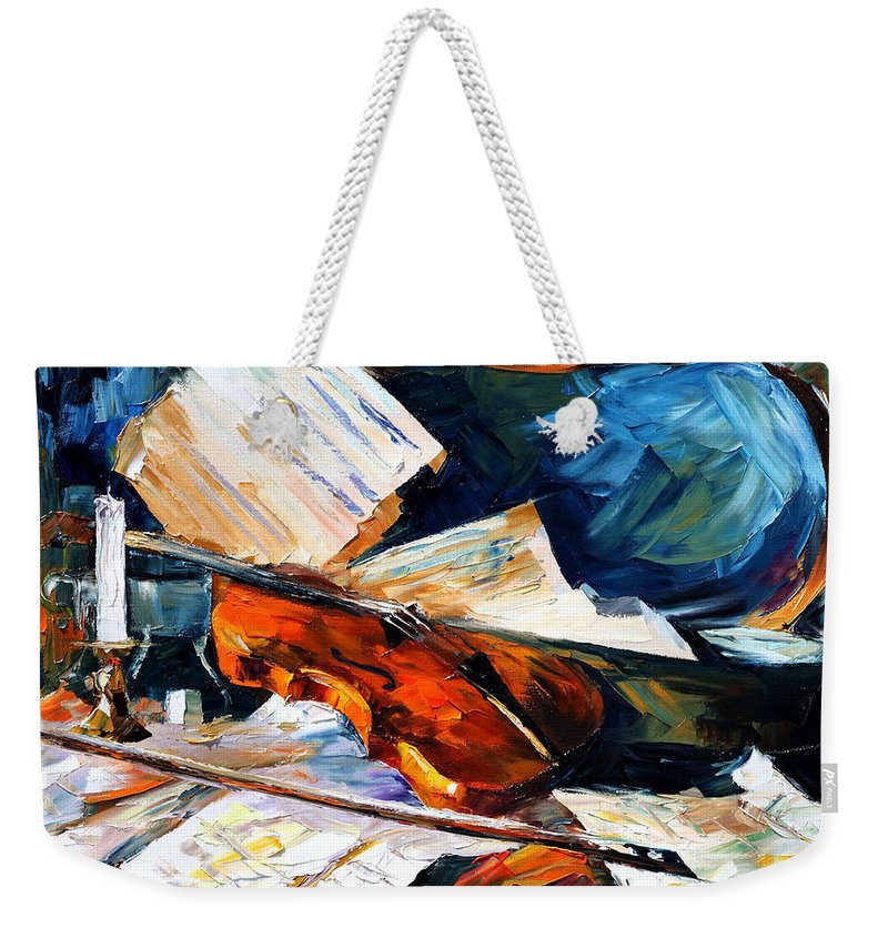 Music Weekender Tote Bag featuring the painting Violin by Leonid Afremov