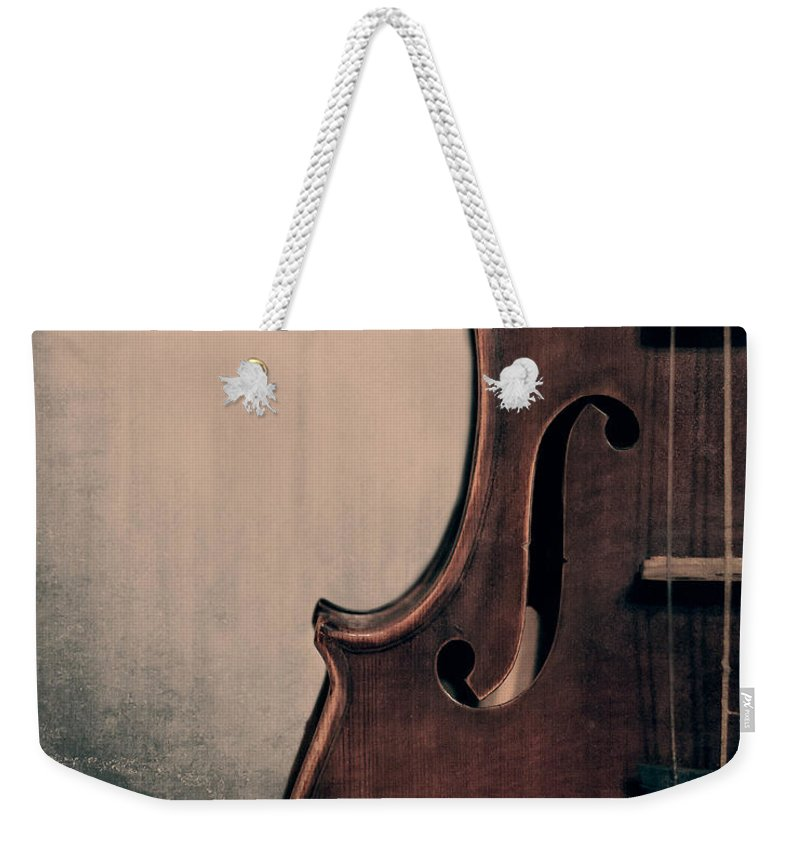 Violin Weekender Tote Bag featuring the photograph Violin Portrait by Emily Kay