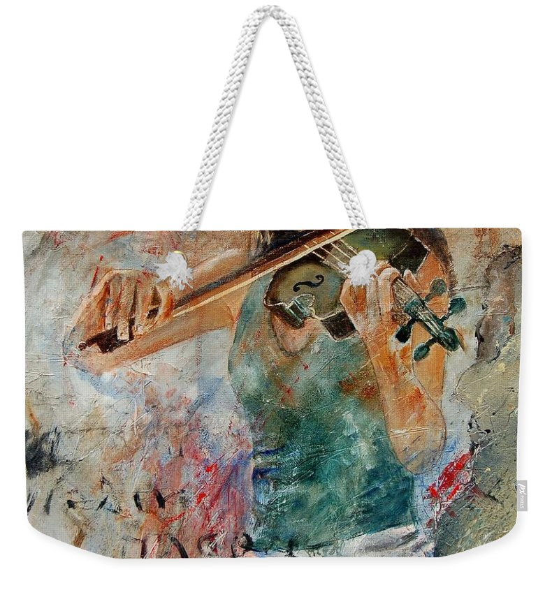 Music Weekender Tote Bag featuring the painting Violinist 56 by Pol Ledent