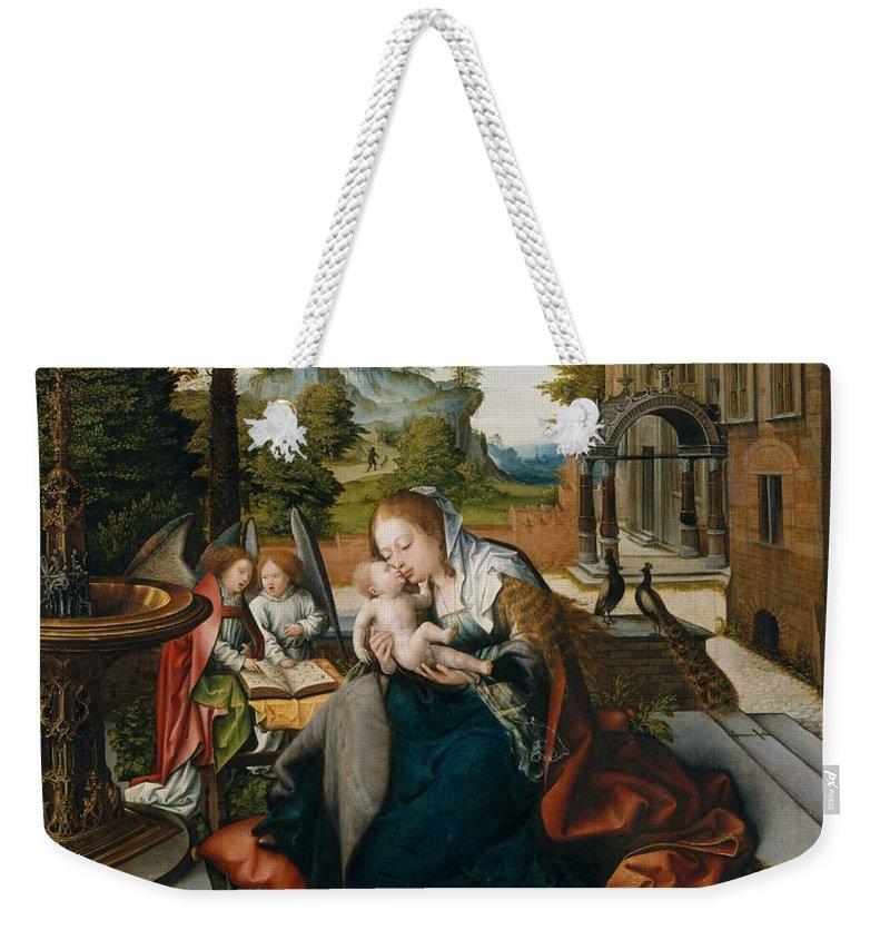 Bernard Weekender Tote Bag featuring the painting Virgin And Child With Angels by Circle of Bernard van Orley
