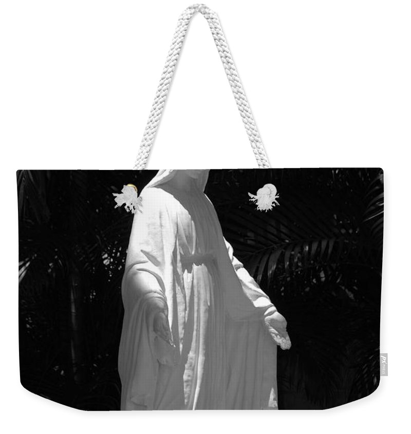 Black And White Weekender Tote Bag featuring the photograph Virgin Mary In Black And White by Rob Hans