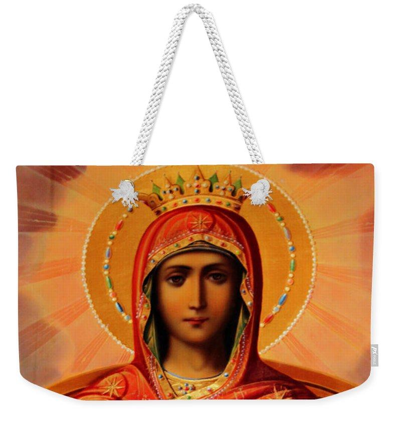 Virgin Weekender Tote Bag featuring the painting Virgin Mary Old Painting by Munir Alawi