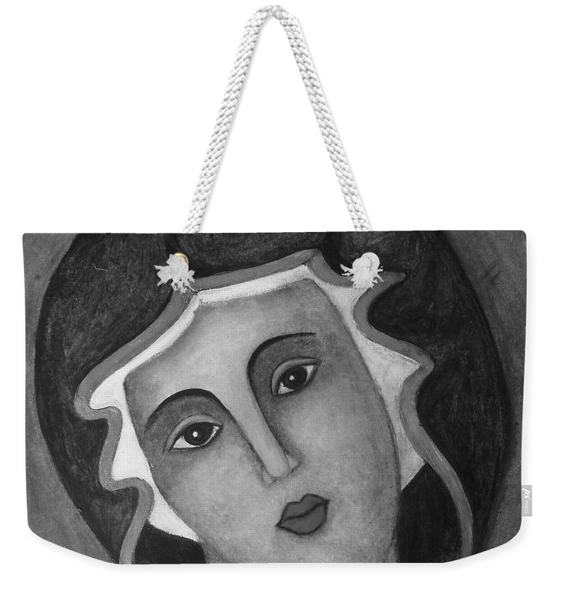 Virgin Mary Weekender Tote Bag featuring the painting Virgin Mary by Vesna Antic