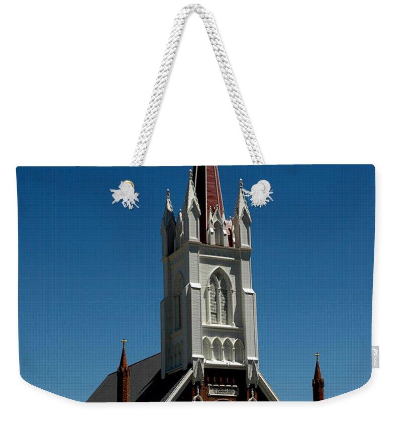 Usa Weekender Tote Bag featuring the photograph Virginia City Church St Mary by LeeAnn McLaneGoetz McLaneGoetzStudioLLCcom