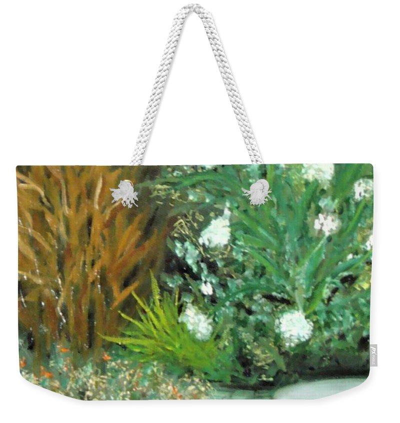 Plein Air Weekender Tote Bag featuring the painting Virginia's Garden by Laurie Morgan