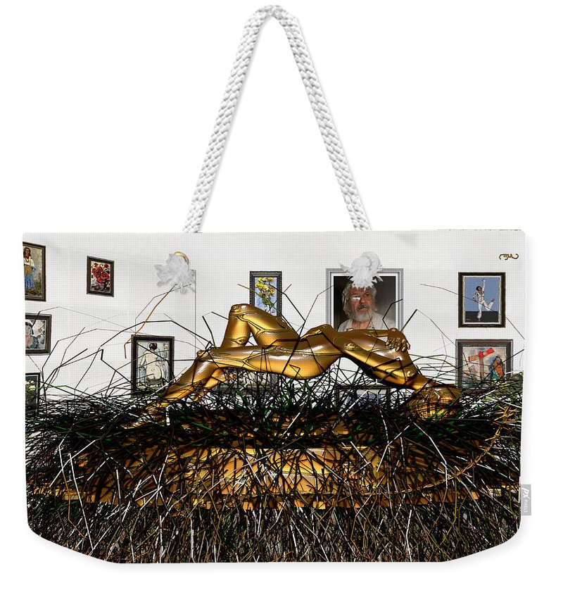 Modern Painting Weekender Tote Bag featuring the mixed media Virtual Exhibition With Birthday Cake by Pemaro