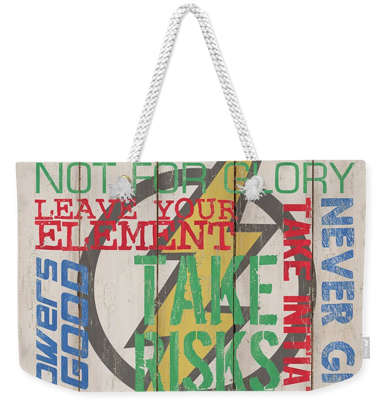 Superhero Weekender Tote Bag featuring the mixed media Virtues Of A Superhero by Debbie DeWitt