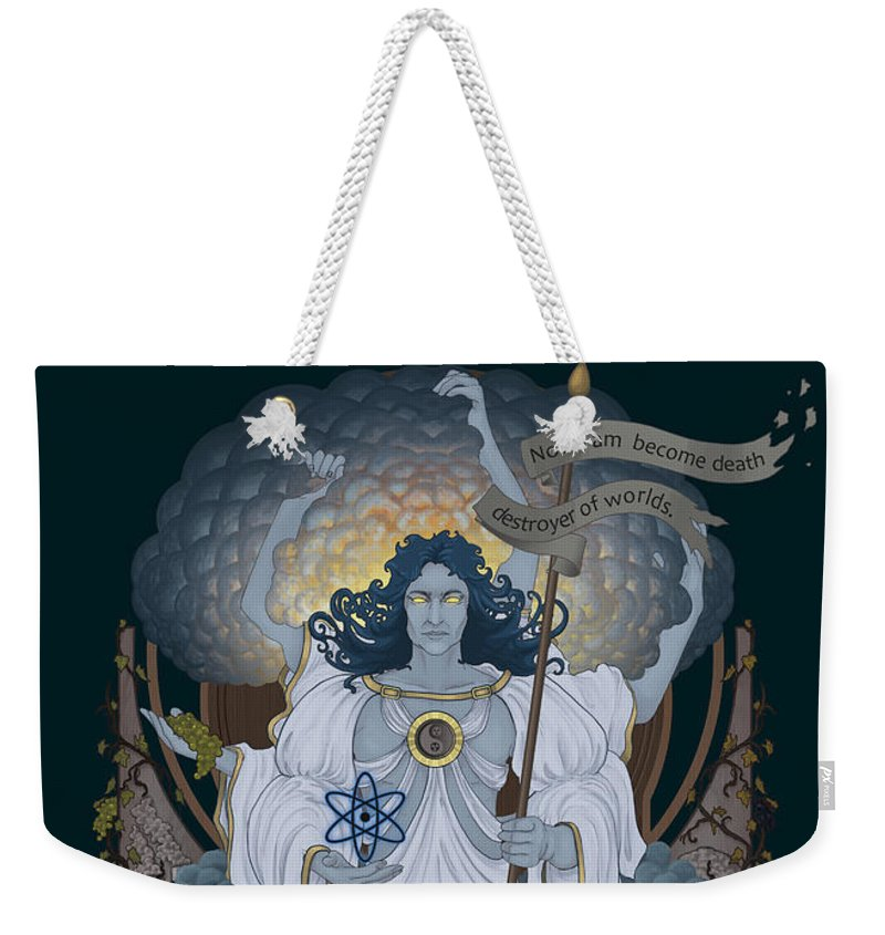 Nuclear Weekender Tote Bag featuring the digital art Vishnu - Nuclear by Cassiopeia Art
