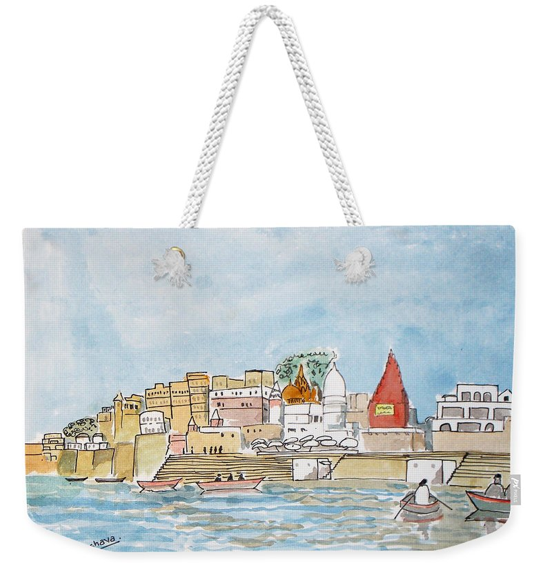 Vishwanath Weekender Tote Bag featuring the painting Vishweshwar Jyotirling by Keshava Shukla