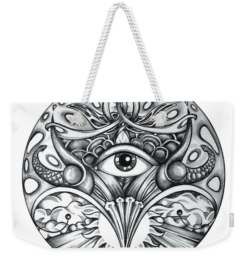 Eye Weekender Tote Bag featuring the drawing Vision by Shadia Derbyshire