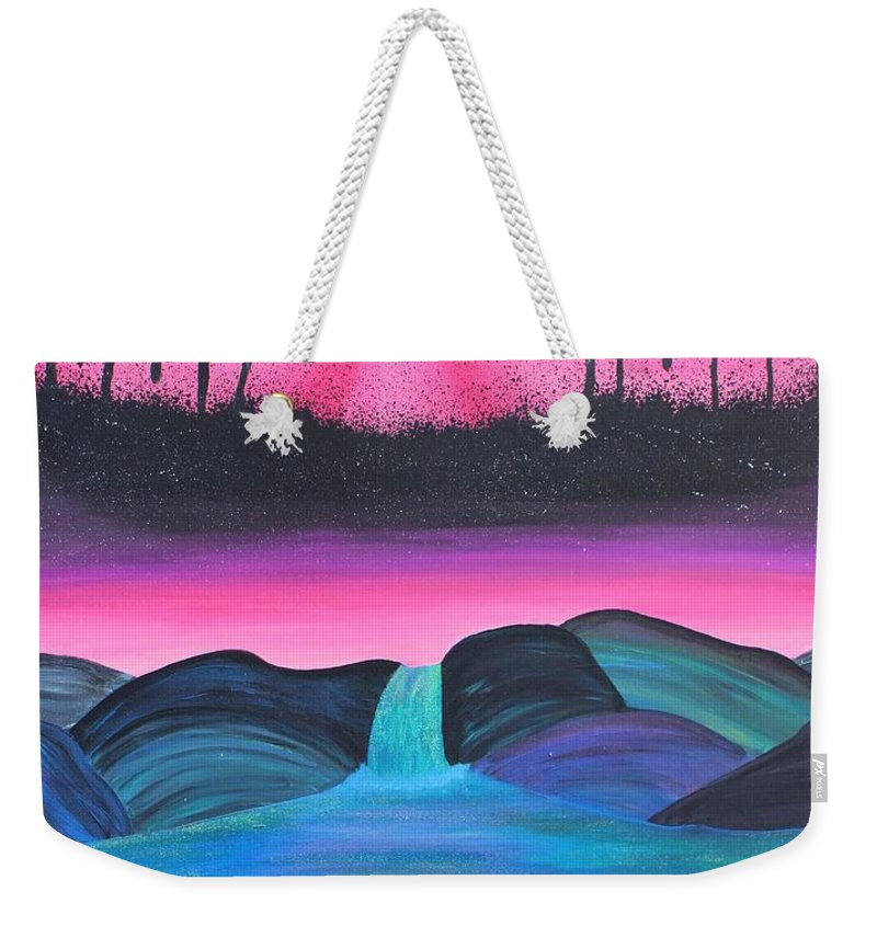 Trippy Visions Eyes Space Stars Mushrooms Pink Pastel Beauty Lakeview Lake Weekender Tote Bag featuring the painting Visions by Maria Juarez