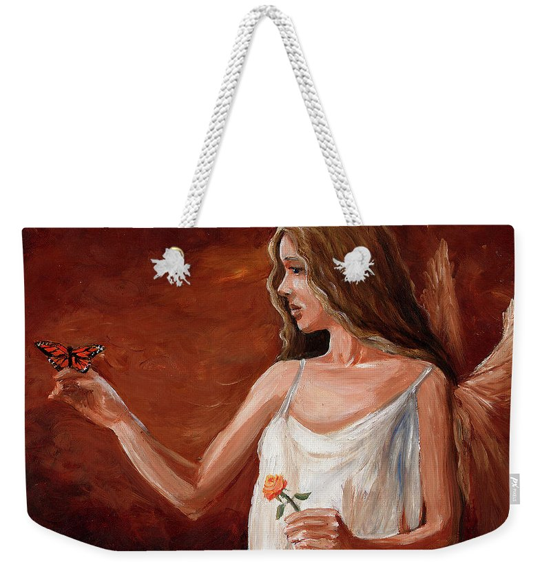 Weekender Tote Bag featuring the painting Visit by Stephanie Paige