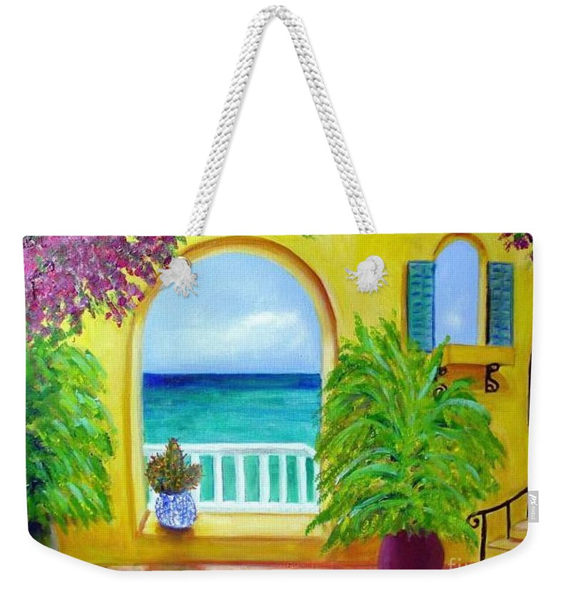 Patio Weekender Tote Bag featuring the painting Vista Del Agua by Laurie Morgan