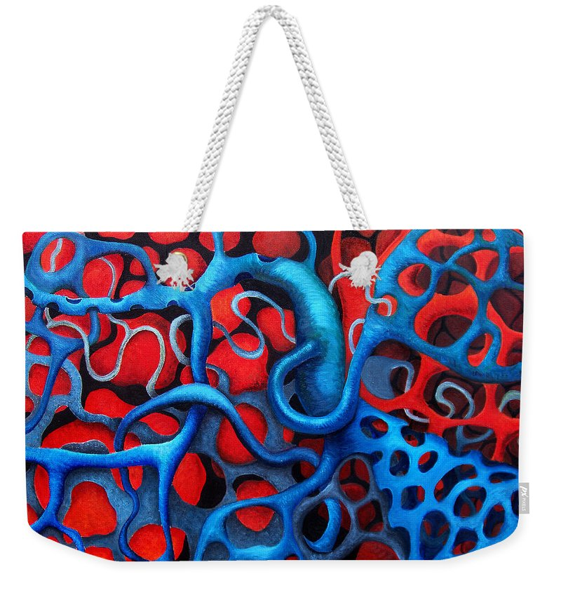Abstract Weekender Tote Bag featuring the painting Vital Network 2 by Nancy Mueller