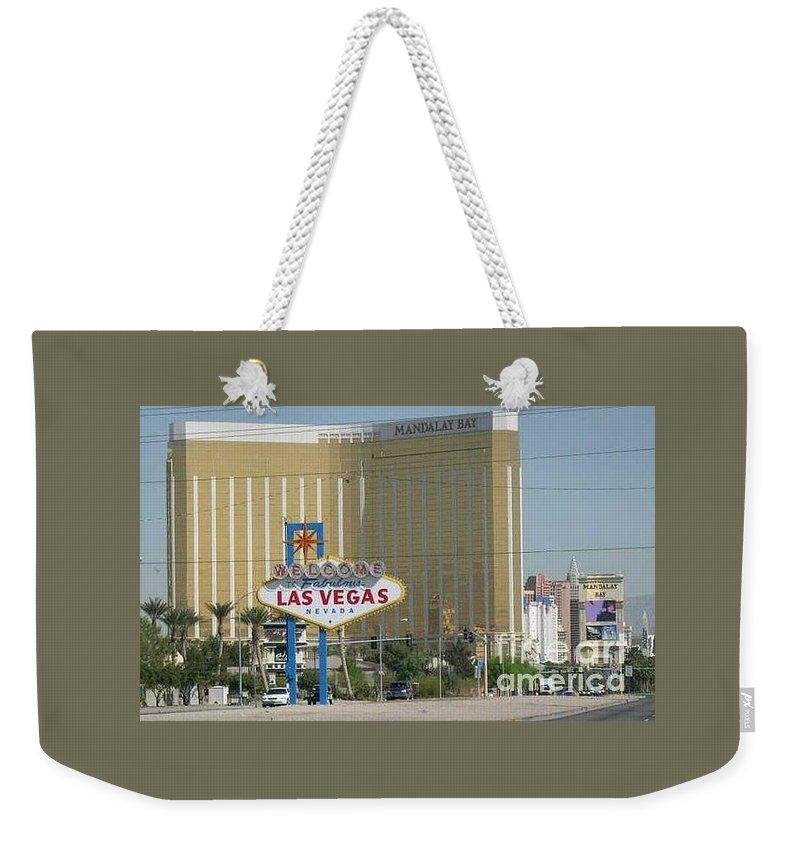 Vegas Weekender Tote Bag featuring the photograph Viva Las Vegas by Barb Montanye Meseroll