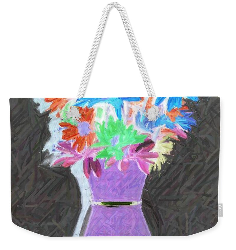 Flowers Weekender Tote Bag featuring the photograph Vivid Arrangement by John W Smith III