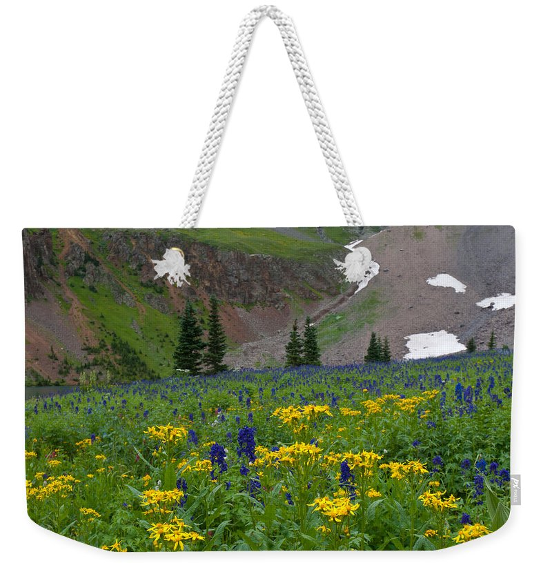 Blue Lake Weekender Tote Bag featuring the photograph Vivid Colors Of The Colorado Alpine by Cascade Colors