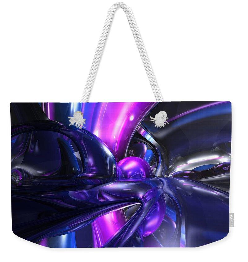 3d Weekender Tote Bag featuring the digital art Vivid Waves Abstract by Alexander Butler