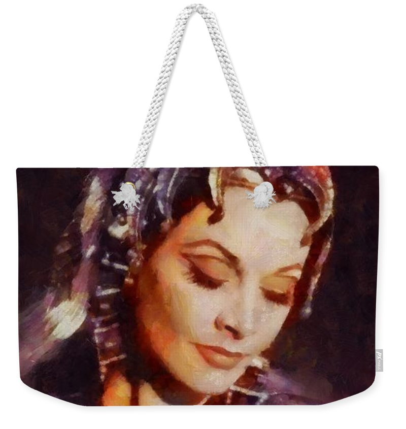 Hollywood Weekender Tote Bag featuring the painting Vivien Leigh, Vintage Hollywood Actress by Sarah Kirk