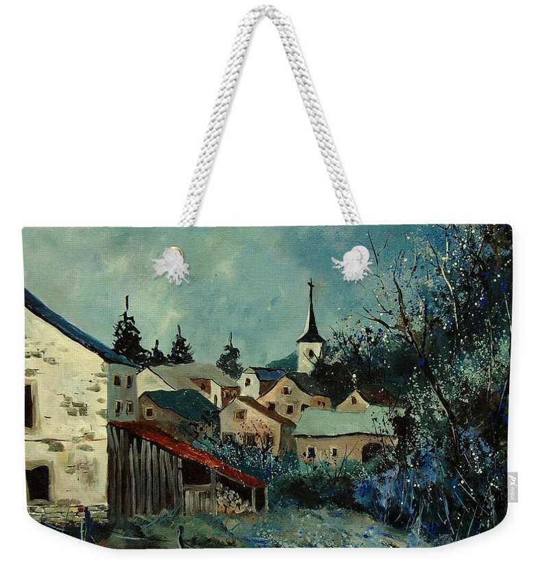 Village Weekender Tote Bag featuring the painting Vivy Bouillon by Pol Ledent