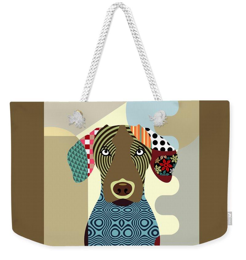 Vizsla Dog Weekender Tote Bag featuring the digital art Vizsla Dog by Lanre Studio