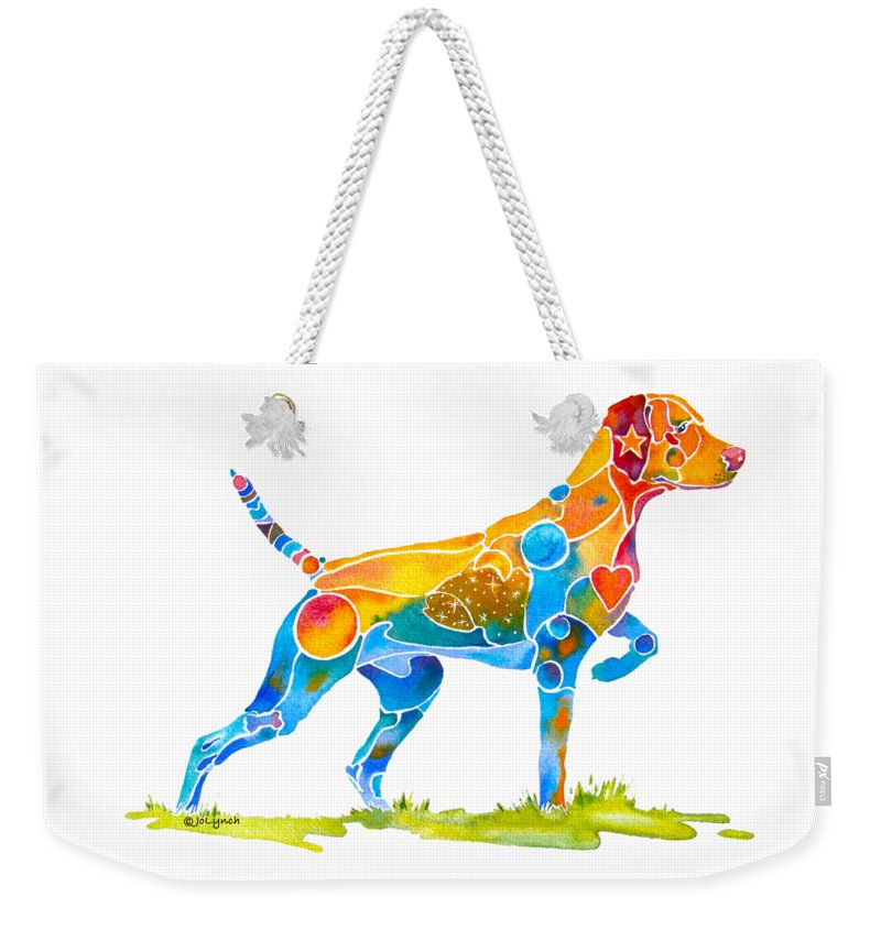 Vizsla Weekender Tote Bag featuring the painting Vizsla On Point by Jo Lynch