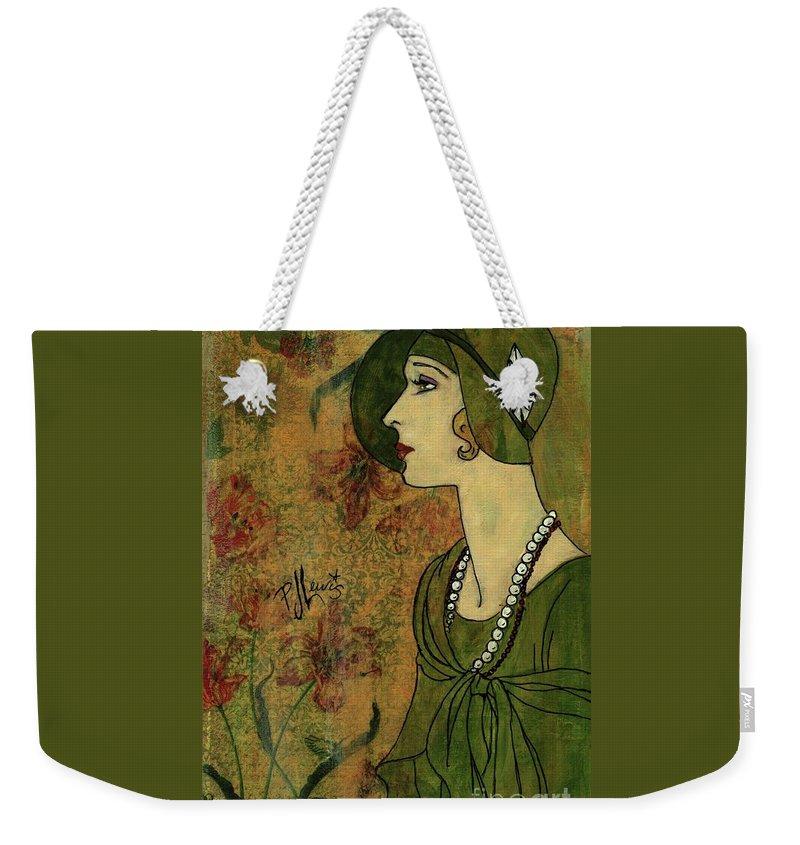 Flapper Weekender Tote Bag featuring the painting Vogue Twenties by PJ Lewis