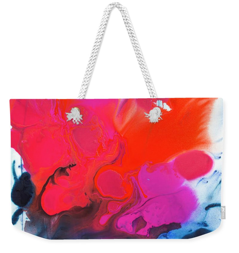 Abstract Weekender Tote Bag featuring the painting Voice by Claire Desjardins