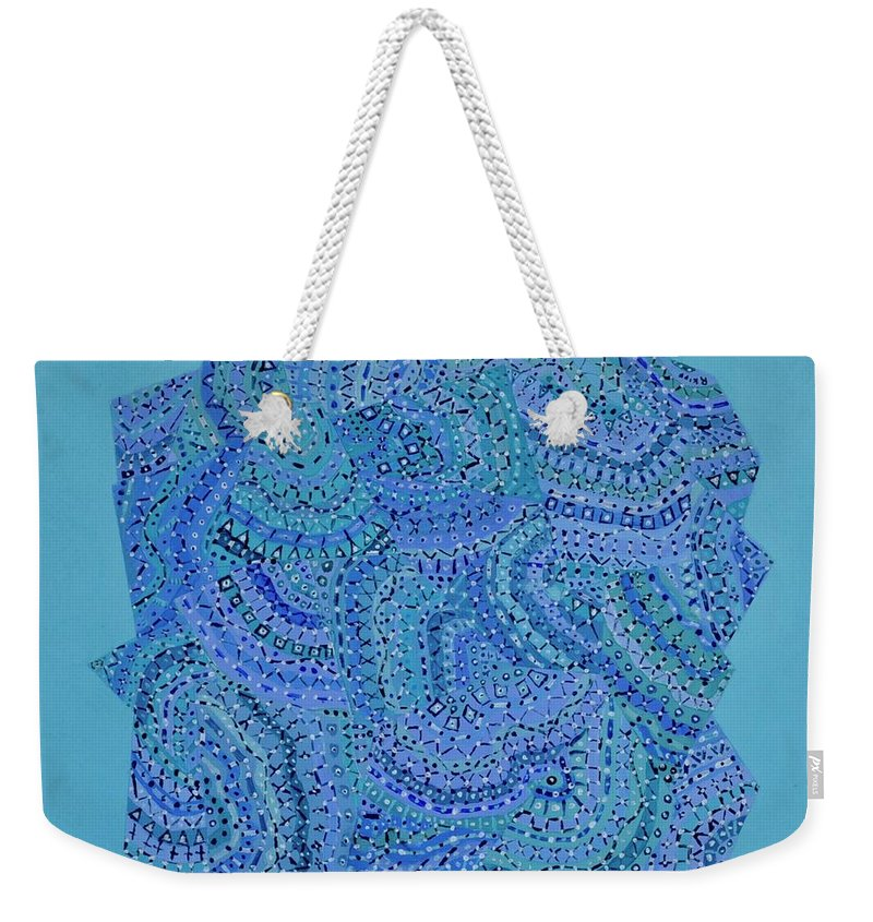 Abstract Weekender Tote Bag featuring the painting Voilet Spiral by Roger Kipp