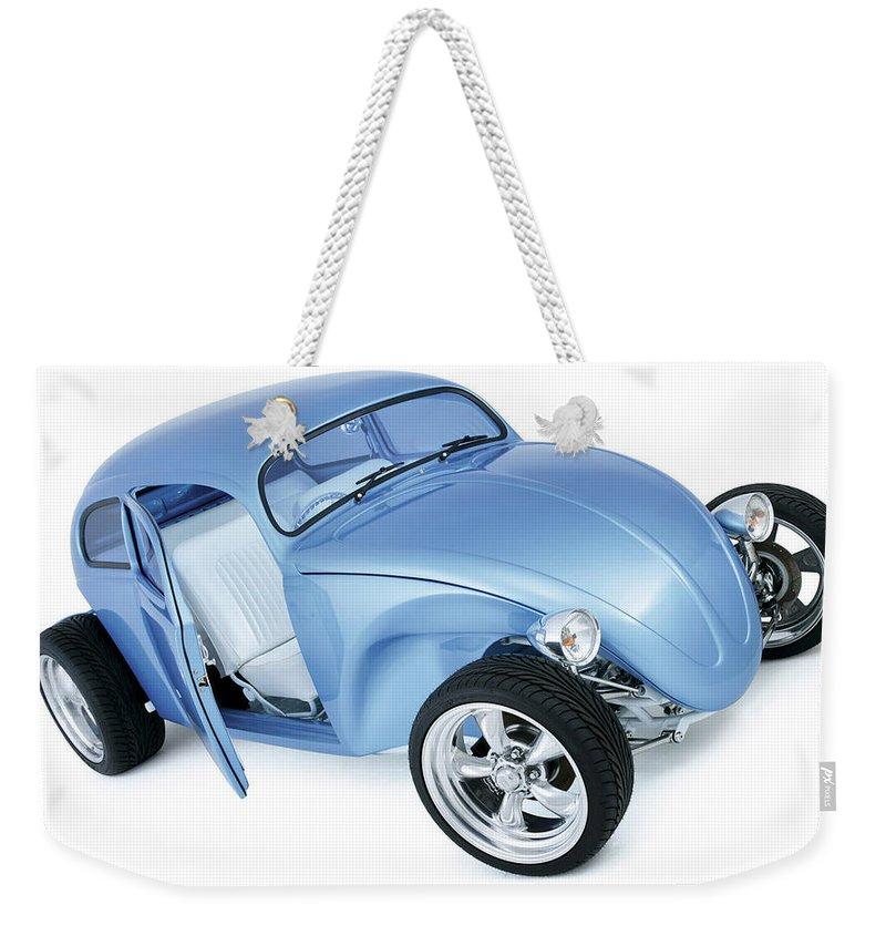 Volkswagen Beetle Weekender Tote Bag featuring the digital art Volkswagen Beetle by Super Lovely