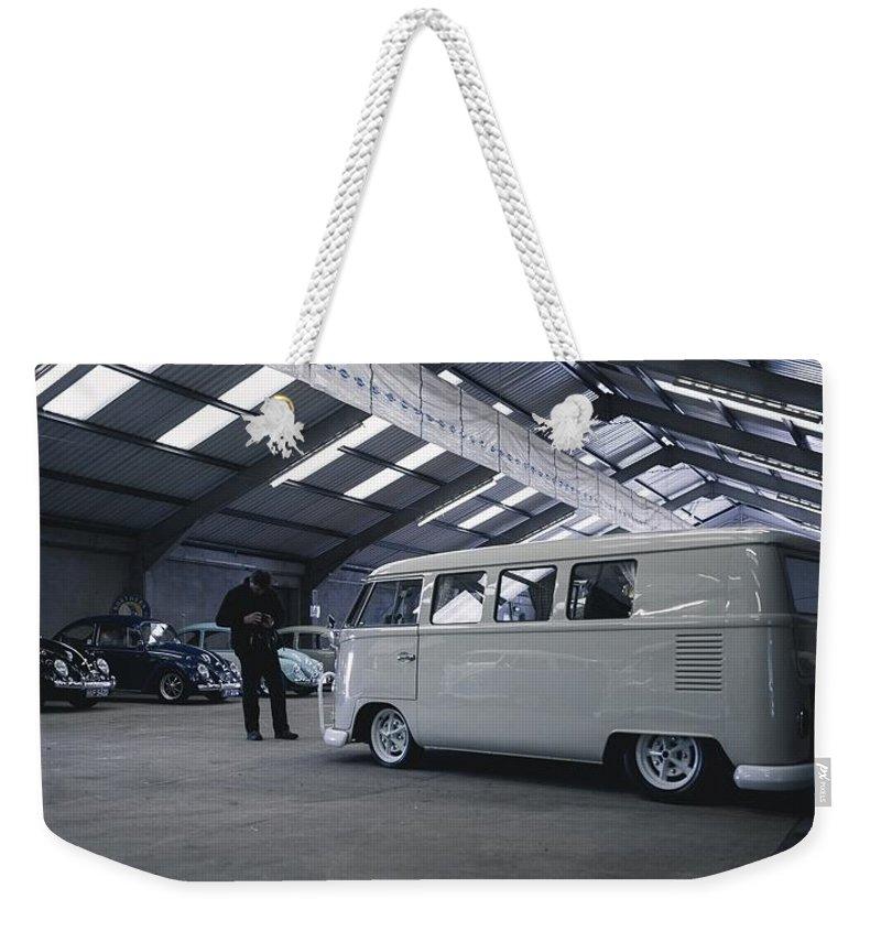 Volkswagen Microbus Weekender Tote Bag featuring the photograph Volkswagen Microbus by Mariel Mcmeeking