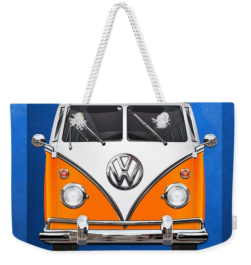 'volkswagen Type 2' Collection By Serge Averbukh Weekender Tote Bag featuring the photograph Volkswagen Type - Orange And White Volkswagen T 1 Samba Bus Over Blue Canvas by Serge Averbukh