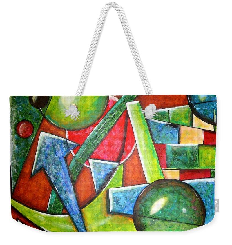 Volume Weekender Tote Bag featuring the painting Volumes-4 by Vitor Fernandes VIFER