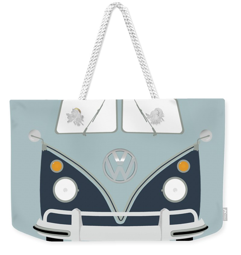 Volkswagen Weekender Tote Bag featuring the photograph Vw Bus Blue by Mark Rogan