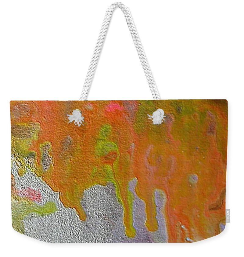 Abstract Encaustic Weekender Tote Bag featuring the painting W 050 by Dragica Micki Fortuna