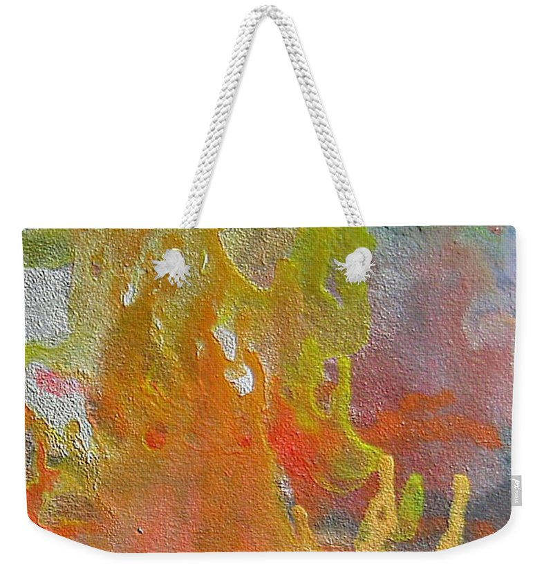 Abstract Encaustic Painting Weekender Tote Bag featuring the painting W 052 by Dragica Micki Fortuna