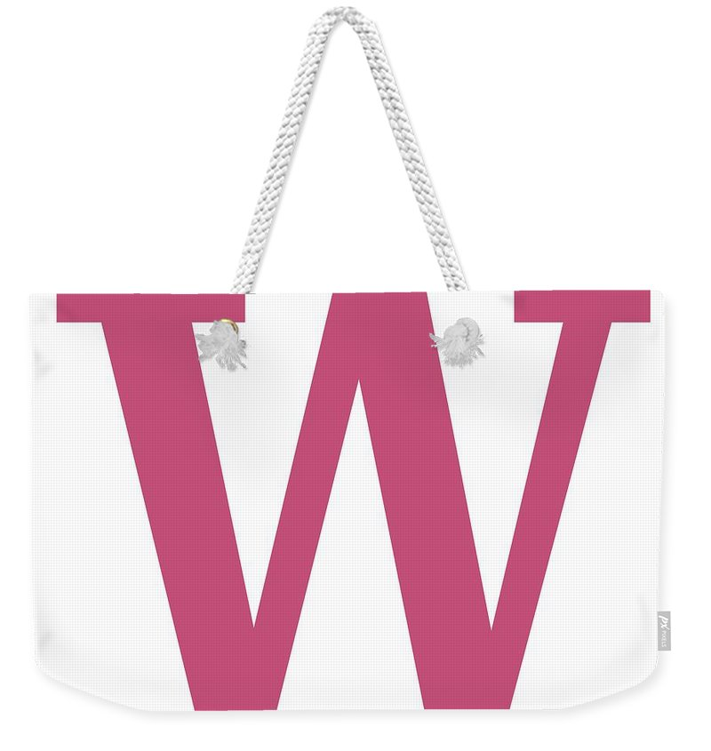 W Weekender Tote Bag featuring the digital art W In Pink Typewriter Style by Custom Home Fashions
