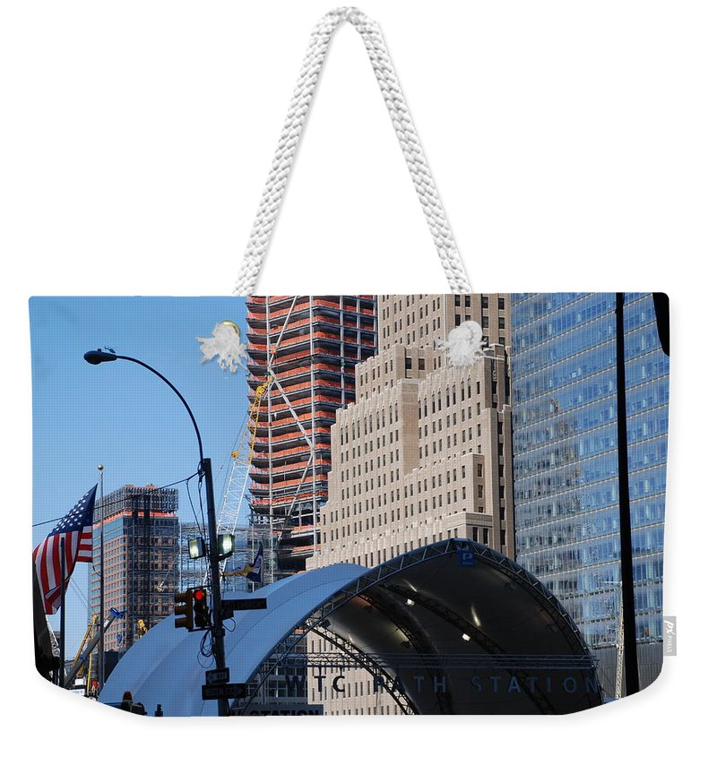 Street Scene Weekender Tote Bag featuring the photograph W T C Path Station by Rob Hans