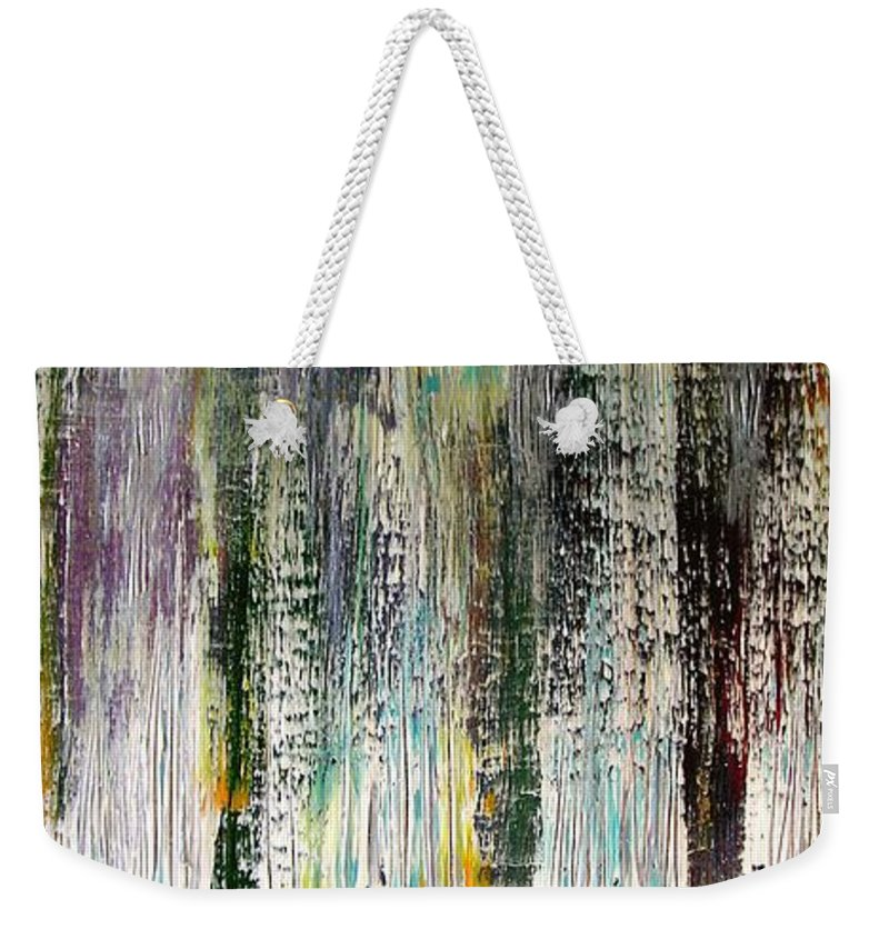 Rain Weekender Tote Bag featuring the painting W73 - Raining Up by Kunst mit Herz Art with Heart